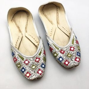 Embroidered Indian Leather Shoes w Mirror Details